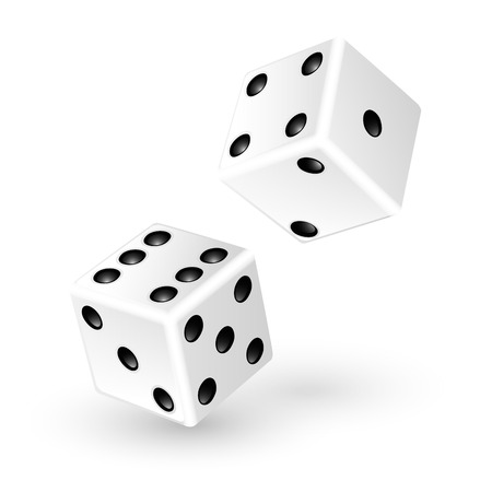 Two white dice isolated on white background  illustration