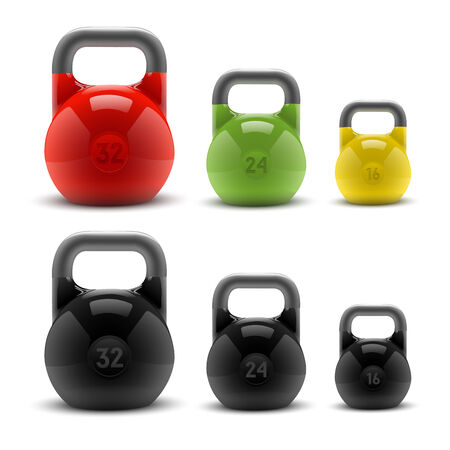 Collection of realistic classic kettlebells isolated on white background  Fitness symbol Vector