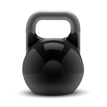 Realistic classic kettlebell isolated on white background  Fitness symbol  Vector illustration