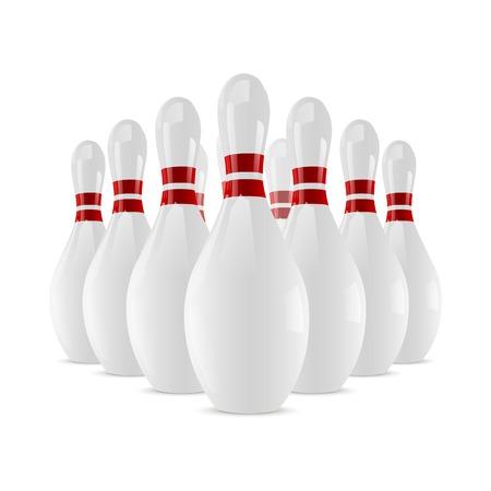Shiny bowling skittles isolated on white background  Vector illustration