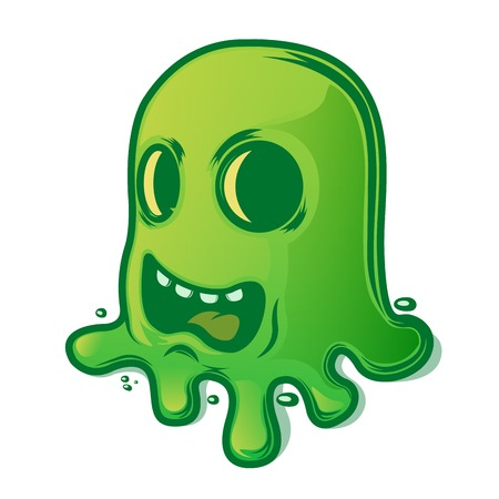 breezy: Scary green slug isolated on white background  Halloween symbol  Vector illustration