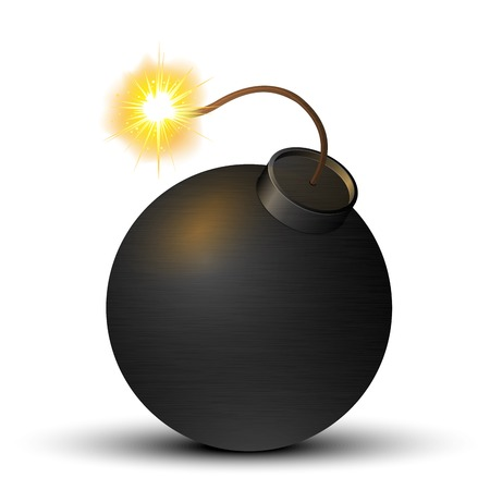 Black bomb isolated on a white background  Vector illustration Vector