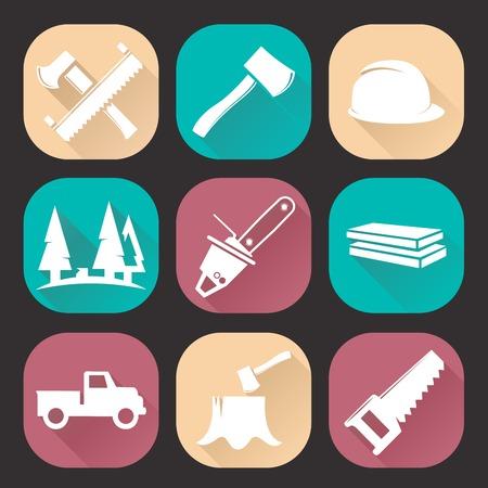 woodcutter: Lumberjack woodcutter icons set isolated on dark background