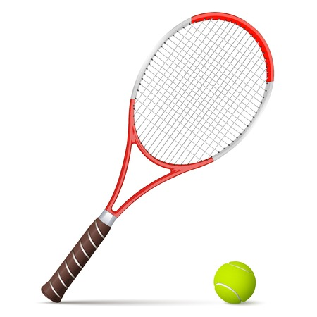 Tennis racket and ball isolated on white background Vector