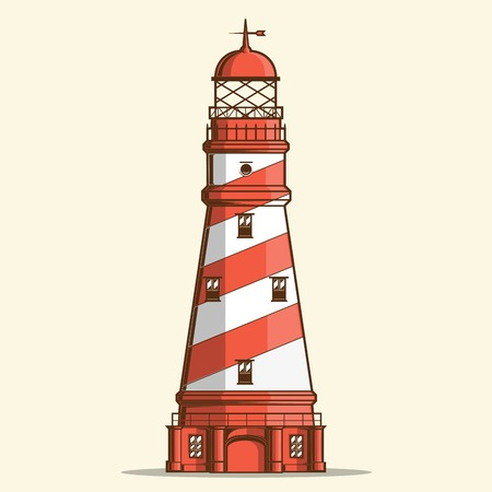 Retro lighthouse isolated on white background Vector