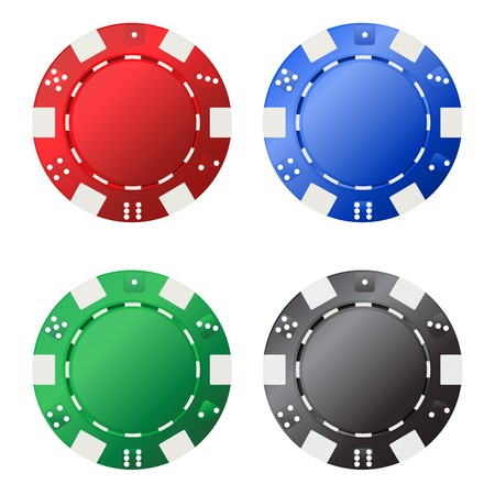 casino dealer: Four gambling chips (red, blue, green, black) for your designs isolated on white background.