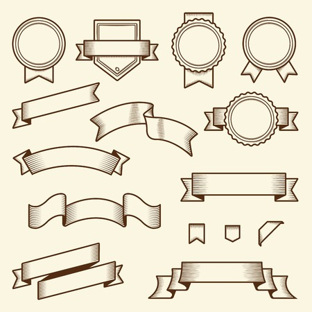 Set of vintage ribbons and labels isolated on white background  Line art  Modern design