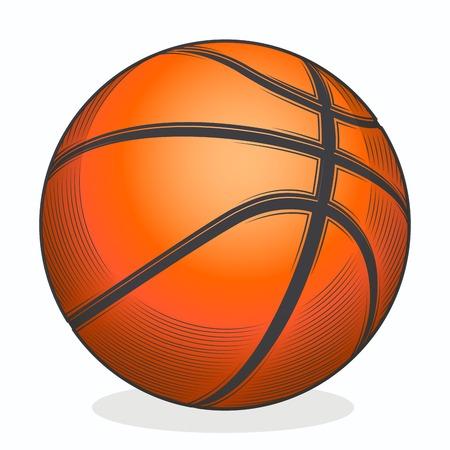 ballon basketball: balle de basket-ball isol� sur un fond blanc Illustration
