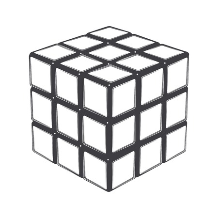 Rubiks cube isolated on a white background. Line art. Modern design. Vector illustration. Editorial