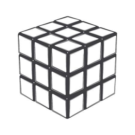 Rubik's kubus geïsoleerd op een witte achtergrond. Lijntekeningen. Modern design. Vector illustratie.