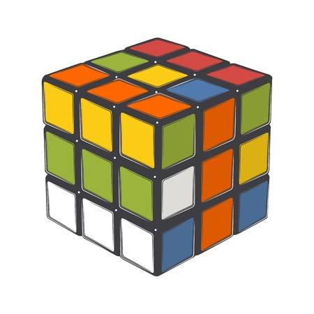 unsolved: Rubiks cube isolated on a white background. Color line art. Modern design. Vector illustration.