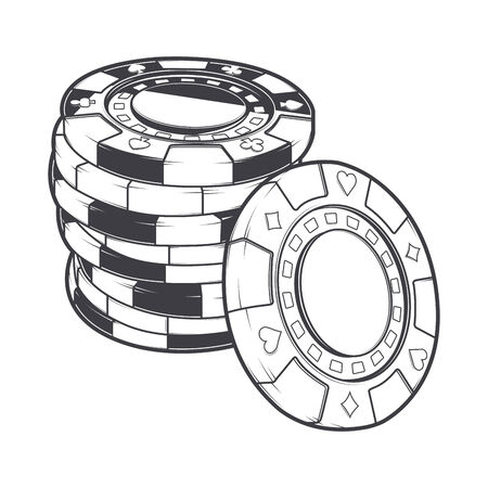 tokens: Stacks of gambling chips, casino tokens isolated on a white background. Line art. Retro design. Vector illustration. Illustration