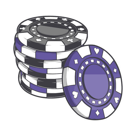 tokens: Black and violet stacks of gambling chips, casino tokens isolated on a white background.