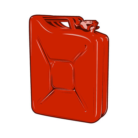 Red jerrycan isolated on a white background.