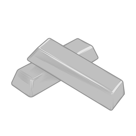 Silver bars isolated on a white background.