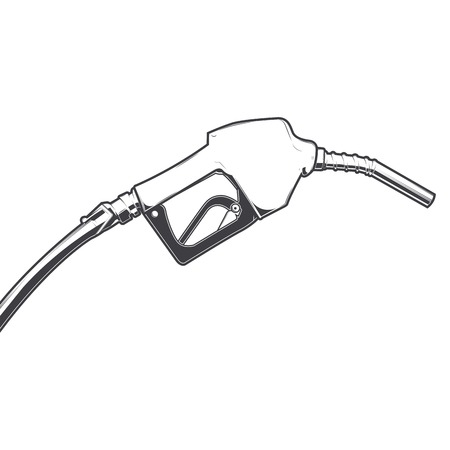 propellant: Fuel nozzle with hose isolated on a white background. Line art. Retro design. Vector illustration. Illustration