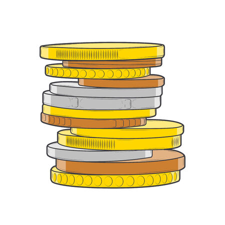 Golden, silver and bronze coins stacks isolated on a white background. Color line art. Retro design. Vector illustration.