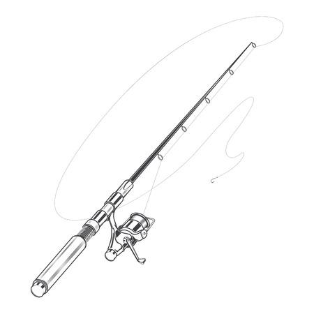 Angelrute, Spinnen mit Köder auf einem weißen Hintergrund. Linie Kunst. Retro-Design. Vektor-Illustration. Standard-Bild - 31668885