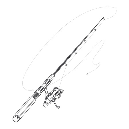 Fishing rod, spinning with bait isolated on a white background. Line art. Retro design. Vector illustration. Illustration