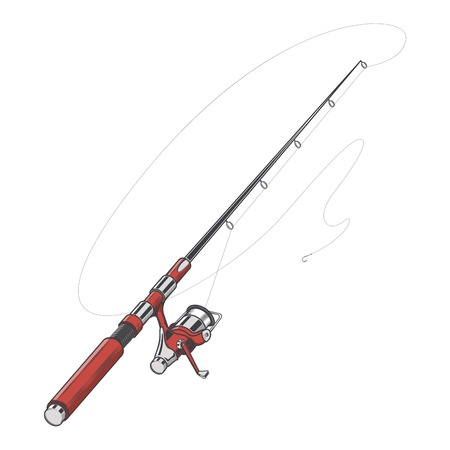 Red fishing rod, spinning with bait isolated on a white background. Color line art. Retro design. Vector illustration.