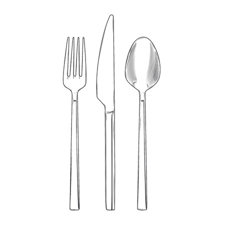 Cutlery set of fork, knife and spoon isolated on a white background. Hand drawn line art. Retro design. Vector illustration.