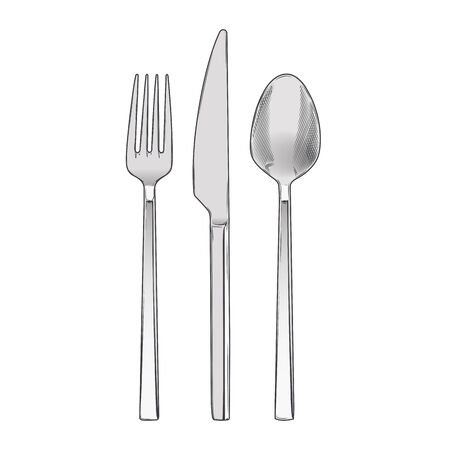 Cutlery set of fork, knife and spoon isolated on a white background. Hand drawn color line art. Retro design. Vector illustration. 矢量图像