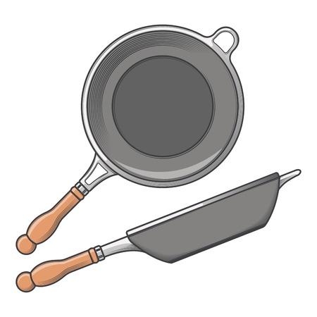 cast iron: Frying pans (side and top view) isolated on a white background. Color line art. Cookware retro design. Vector illustration. Illustration