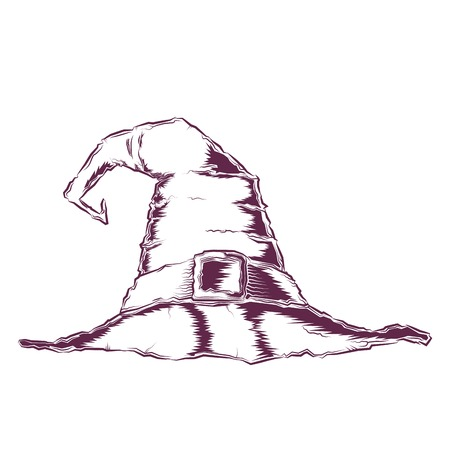 bewitch: Creepy witch hat isolated on a white background. Line art. Halloween retro design. Vector illustration.