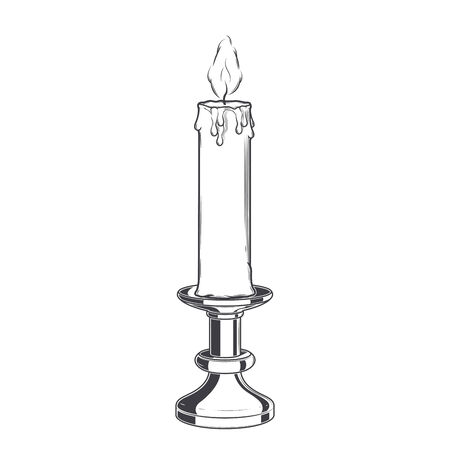 Burning old candle and vintage candlestick isolated on a white background.
