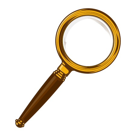 Brass magnifying glass with wooden handle isolated on a white background. Vector