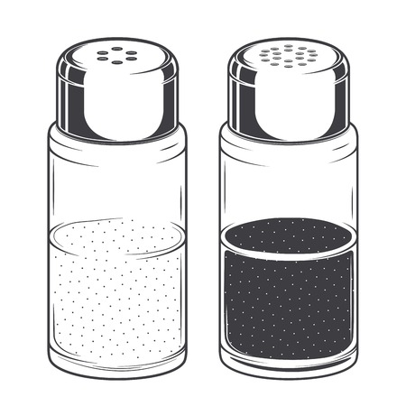 black pepper: Glass salt and pepper shakers isolated on a white background.  Illustration