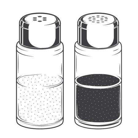 sal: Vidrio saleros y pimenteros aislados en un fondo blanco.
