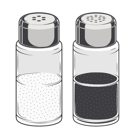 salt: Glass salt and pepper shakers isolated on a white background. Color Line art.