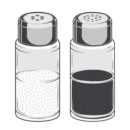 pepe nero: Vetro sale e pepe isolato su uno sfondo bianco. Arte Color Line. Vettoriali