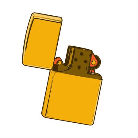 Golden zippo lighter isolated on a white background. Color line art. Retro design. Vector illustration.