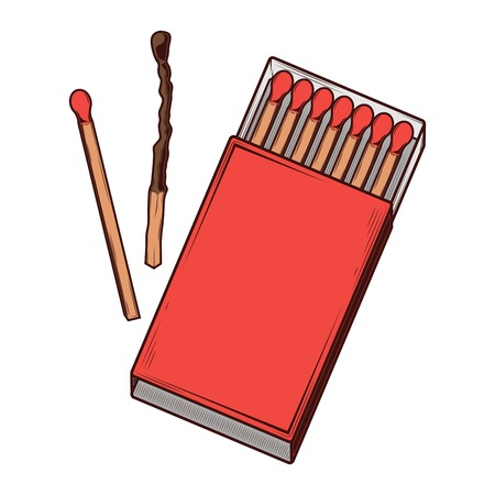 Top view red matchbox isolated on a white background. Color line art. Retro design. Vector illustration. Vector