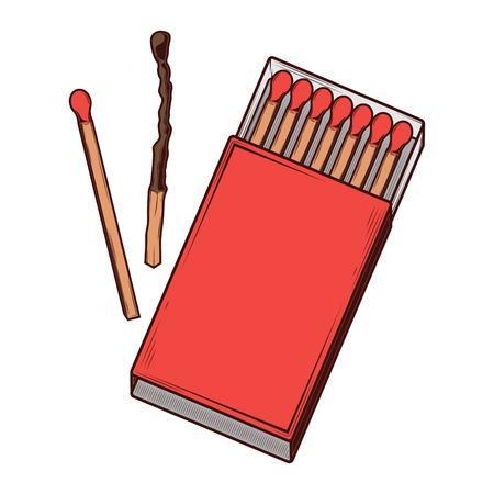 caja de cerillas: Vista superior caja de f�sforos de color rojo aisladas sobre un fondo blanco. La l�nea de arte del color. Dise�o retro. Ilustraci�n del vector.