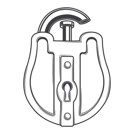 Antique lock isolated on a white background