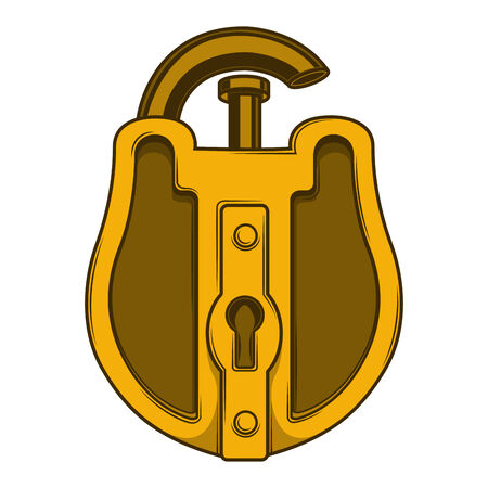 Antique golden lock isolated on a white background Illustration