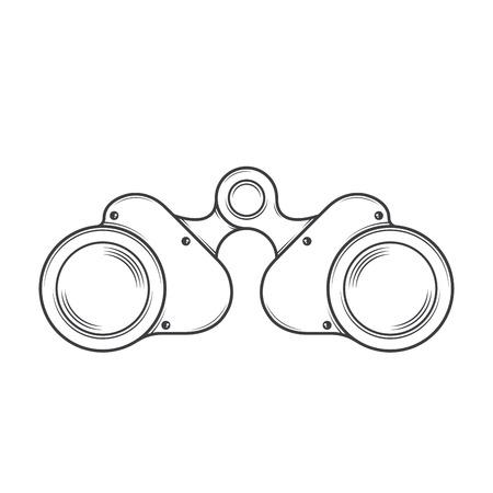 Military Old Binocular isolated on a white background. Monochromatic line art. Retro design.