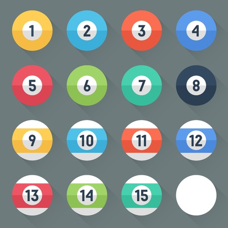 number icons: Colored Pool Balls. Numbers 1 to 15 and zero ball. Flat style with long shadows. Modern trendy design. Vector illustration. Illustration