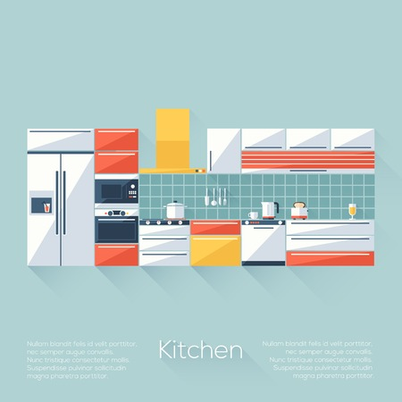 Kitchen Cover with Fridge, Stove, Dishwasher, Toaster and Microwave. Flat style with long shadows. Modern trendy design. Vector illustration. Vector
