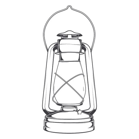 kerosene: Antique Old Kerosene Lamp isolated on a white background. Monochromatic line art. Retro design. Vector illustration. Illustration