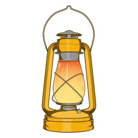 oil lamp: Antique Brass Old Kerosene Lamp isolated on a white background. Colored line art. Retro design. Vector illustration.