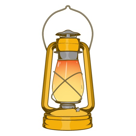 Antique Brass Old Kerosene Lamp isolated on a white background. Colored line art. Retro design. Vector illustration.