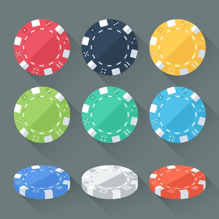 tokens: Set of colorful gambling chips, casino tokens isolated. Flat style with long shadows. Modern trendy design. Vector illustration.