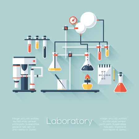 Chemistry education research laboratory equipment. Flat style with long shadows. Modern trendy design. Vector illustration. Vector