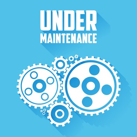 under construction sign: White Cogwheels isolated on a blue background. Under maintenance website page message. Flat style with long shadows. Modern trendy design. Vector illustration.