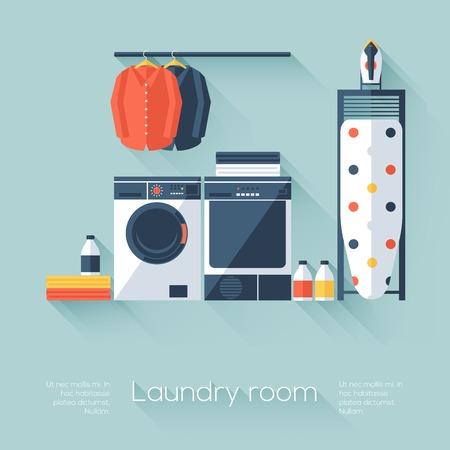Cuarto de lavado con lavadora y secadora Vectores