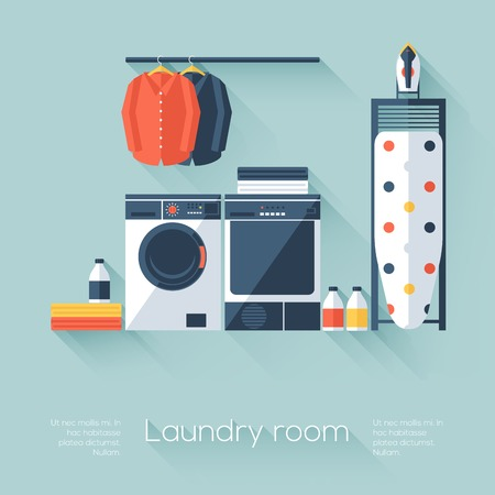 laundry machine: Laundry room with washing machine and dryer Illustration